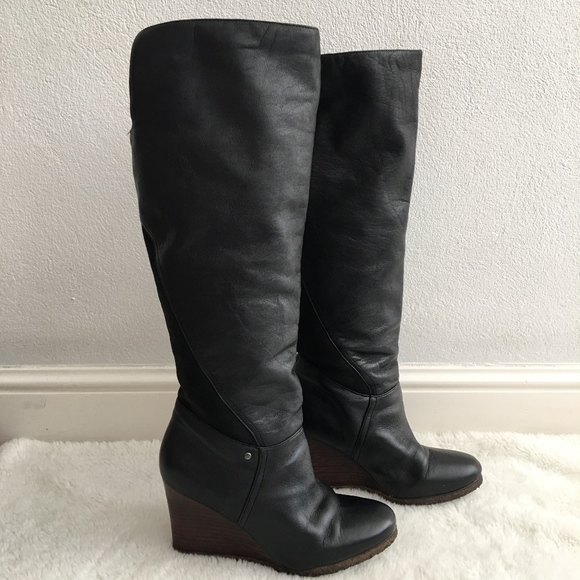 ce84d1ac26b UGG Ravenna Black Tall Leather Wedge Boots Size 10